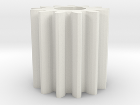 Cylindrical gear Mn=1 Z=13 AP20° Beta0° b=15 HoleØ in White Natural Versatile Plastic