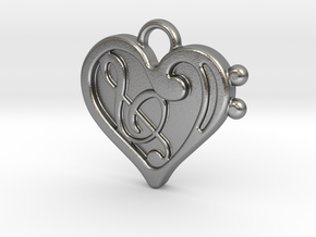 Musical Heart Pendant in Natural Silver