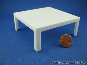 Modern Coffee Table 1:12 scale in White Strong & Flexible Polished