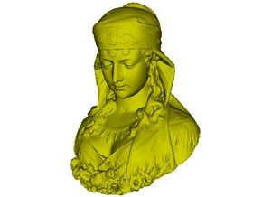 1/9 scale gypsy girl bust in Smooth Fine Detail Plastic