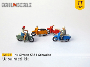 4x Simson KR51 Schwalbe (TT 1:120) in Smooth Fine Detail Plastic
