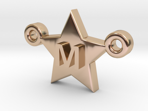 Customizable Star Letter Pendant -1,45cm in 14k Rose Gold Plated Brass