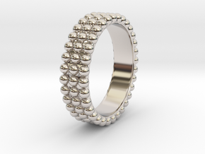 Ring with ball in Rhodium Plated Brass