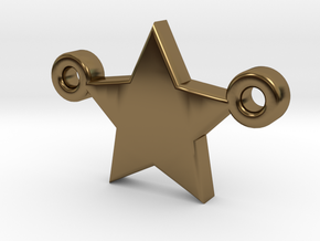 Star Pendant - Size 1,45cm in Polished Bronze