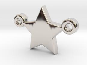 Star Pendant - Size 1,45cm in Rhodium Plated Brass
