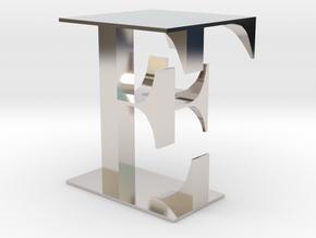 EF in Rhodium Plated Brass