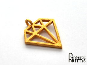 Pendant 'Diamond' in Polished Gold Steel