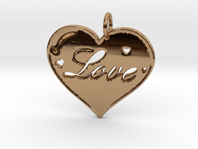 i 4 Love Pendant in Polished Brass