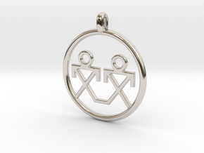 Brothers Symbols Native American Jewelry Pendant in Rhodium Plated Brass