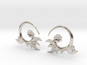 FlowEar in Rhodium Plated Brass