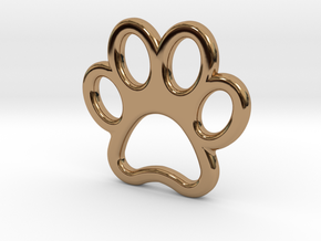 Paw Print Pendant - Small in Polished Brass