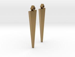 Earrings Pair Triangle Model in Polished Gold Steel