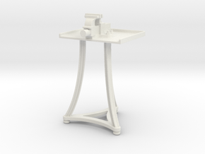 1:13.7 Blacksmith Vise Table in White Natural Versatile Plastic