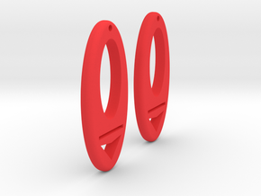 Earring Model I Pair in Red Processed Versatile Plastic