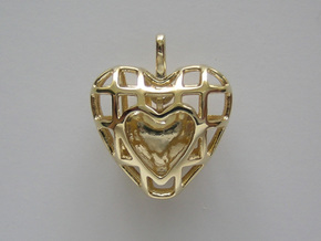 Touch Of The Heart Pendant in Polished Brass (Interlocking Parts)