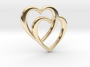 Double Heart Necklace in 14K Yellow Gold