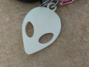 Grey Alien Key Ring in White Strong & Flexible