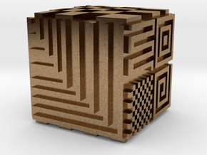Opical Art Cube in Natural Brass