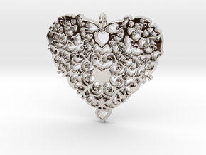 Floral Heart Pendant - Amour in Rhodium Plated Brass