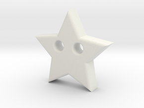 Star Pendant (2 Holes) in White Natural Versatile Plastic