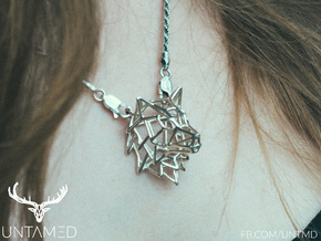 Untamed: The Wolf Pendant in Polished Bronzed Silver Steel: Small