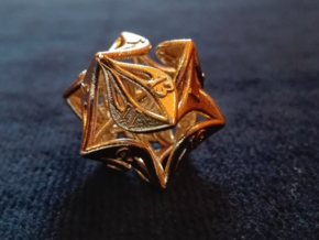 Curlicue 20-Sided Dice in Natural Brass