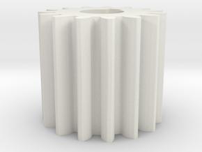 Cylindrical gear Mn=1 Z=15 AP20° Beta0° b=15 HoleØ in White Natural Versatile Plastic