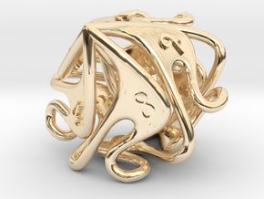 Curlicue 10-Sided Dice (alternate) in 14k Gold Plated Brass