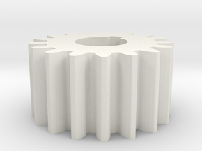 Cylindrical gear Mn=1 Z=17 AP20° Beta0° b=10 HoleØ in White Natural Versatile Plastic