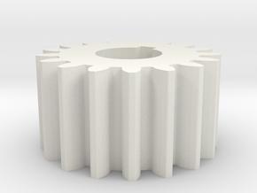 Cylindrical gear Mn=1 Z=17 AP20° Beta0° b=10 HoleØ in White Natural Versatile Plastic