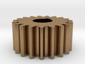 Cylindrical gear Mn=1 Z=19 AP20° Beta0° b=10 HoleØ in Natural Brass
