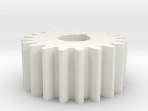 Cylindrical gear Mn=1 Z=20 AP20° Beta0° b=10 HoleØ in White Natural Versatile Plastic