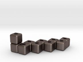 Block menorah in Polished Bronzed Silver Steel