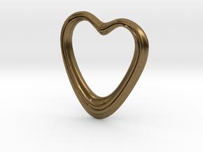 Oblong Heart Pendant in Natural Bronze