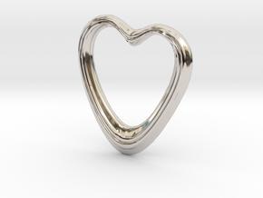 Oblong Heart Pendant in Platinum