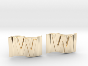 Chicago Cubs W Flag Cufflinks in 14k Gold Plated Brass