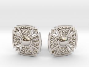 Designer Shield Cufflinks in Rhodium Plated Brass