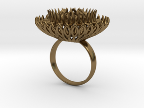 Ring Sun Flowers /size 9 1/2 US (19.4 mm) in Polished Bronze