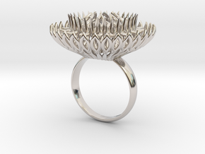 Ring Sun Flowers /size 9 1/2 US (19.4 mm) in Rhodium Plated Brass