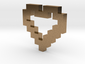 Pixel Heart Pendant in Natural Brass