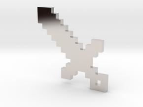 Pixel Sword Pendant in Rhodium Plated Brass