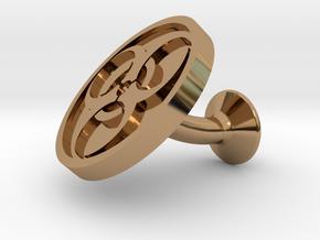 SINGLE Cufflink for BIO - Biological Hazard in Polished Brass