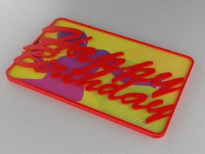 Gift Card Holder Happy Birthday in Red Processed Versatile Plastic