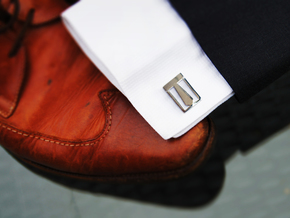 Tie Cufflink in Polished Silver