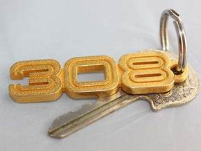 KEYCHAIN LOGO 308 in Polished Gold Steel