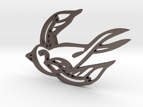 Swallow in Polished Bronzed Silver Steel