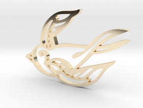Swallow in 14k Gold Plated Brass