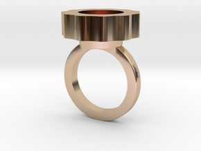 Flower Power Statement Ring in 14k Rose Gold Plated Brass
