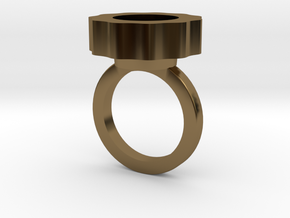 Flower Power Statement Ring in Polished Bronze