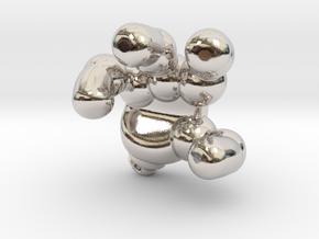 googie robot hand in Rhodium Plated Brass